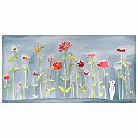 Wall Art - Blue Zinnia Garden 24x12