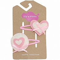 Hair Clip - Be Mine Pink/White