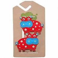 Hair Clip - Hippo Red/Blue