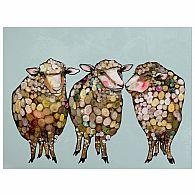 Wall Art - 3 Wooly Sheep 18x14