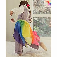Silk skirt, blue/rainbow